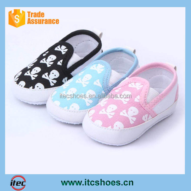 Punk Infant Baby Toddler Girl Boy Skull Canvas Crib Shoes First Walkers Size 1,2 ,3