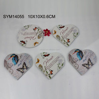 Colorful Heart and Round Shape Cup Mats Wood
