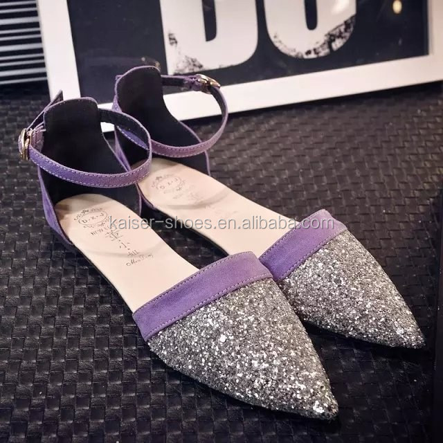 2017 summer new fashion ladies dress shoe pointed toe flat sandals
