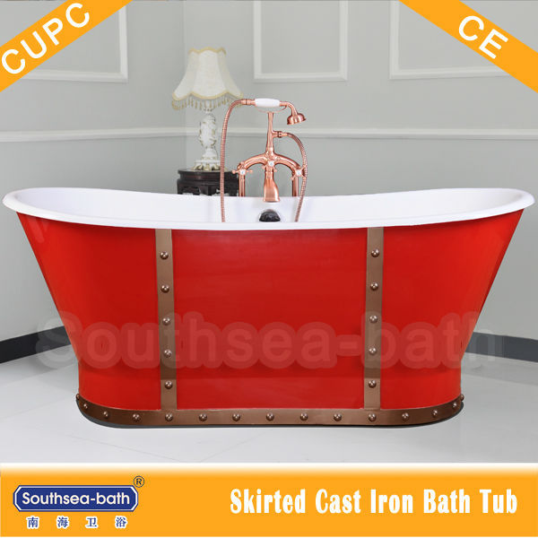 Red special free standing enameled cast iron bathtub with skirt