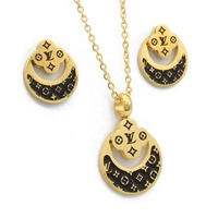High Fashion Wholesale Cheap Women Enamel Stainless Steel Gold Necklace Set Jewelry