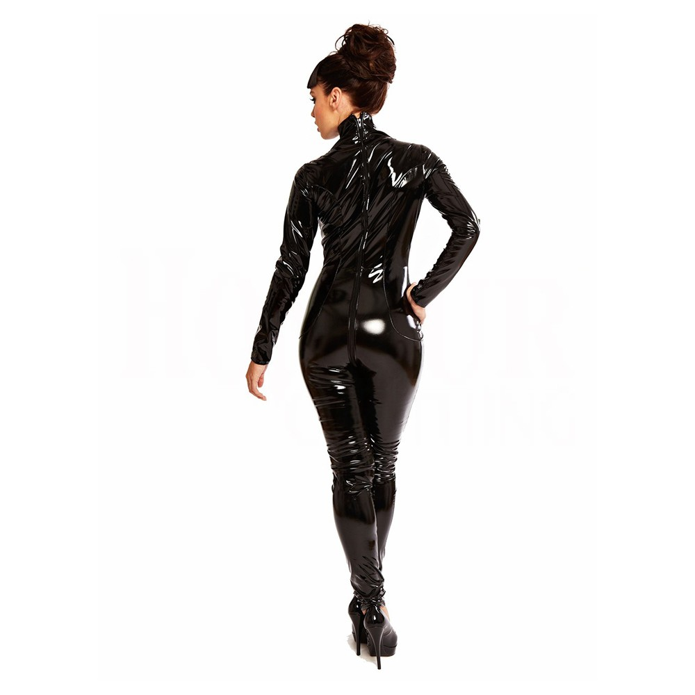 Pvc Catsuit Wetlook Women Black Fetish Gothic Thong Catsuit XXL Long Sleeve One piece Bodysuit Cosplay Costume Jumpsuit