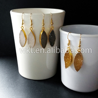 WT-E108 Wholesale sparkly druzy leaf earrings, 24k real gold plated agate pendant druzy earrings