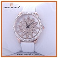 Assisi japanese movement leather band women wrist watches craystal diamonds