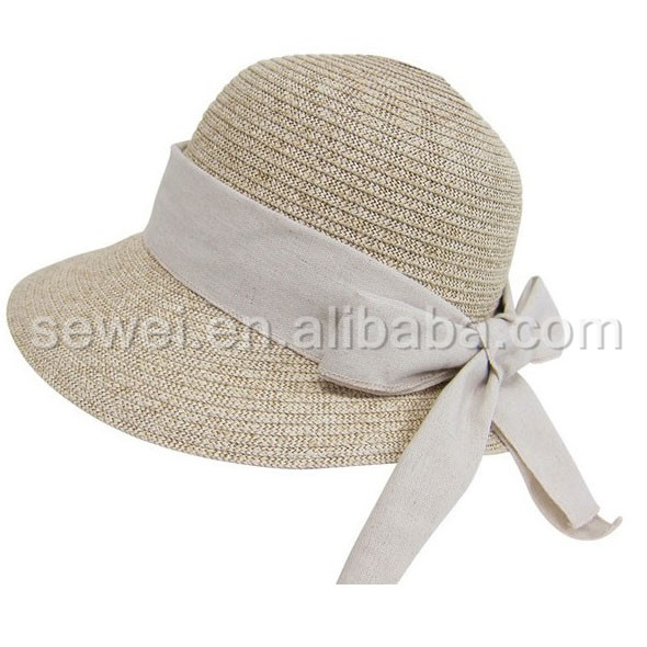 custom summer beach straw hats bucket hat with bow-knot ribbon