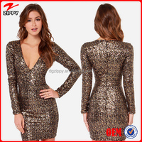 2015 Top Selling Products WomenSexy Free Prom Sequin Dress Elegant Sequin Dress With Deep V Neck Front