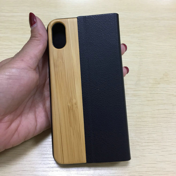 popular universal smart phone wallet book style bamboo wood flip leather case