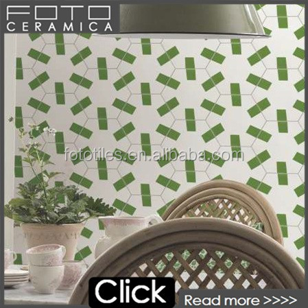 Mexico style handmade green hexagon dining room wall ceramic tile