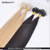 Stick I Glue Tip Pre Bonded Micro Ring Remy Human Hair Extension 22""