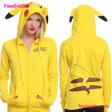 Cheap Cute Yellow Cartoon Printed Hooded Woman Sports Wholesale Bomber Winter Jacket