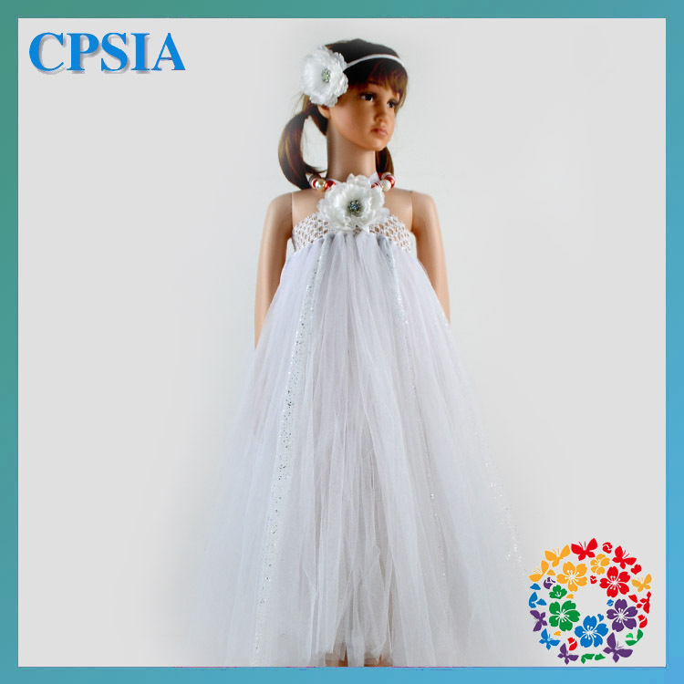 2014 Latest Fashion Children Wedding Dress White Crochet Tube Top Wedding Dress For Girl