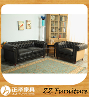 Chinese chesterfield leather vintage upholstered sofa for sale