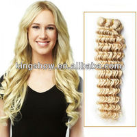 HOT !!! Cheap 18 inch brazilian human remy blonde deep wave hair weft extension