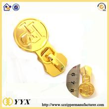 New style #5 gold round metal zipper slider and metal zipper puller