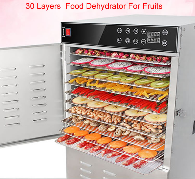 Todo o Aço Inoxidável 30 bandejas Desidratador De Frutas Industrial máquina