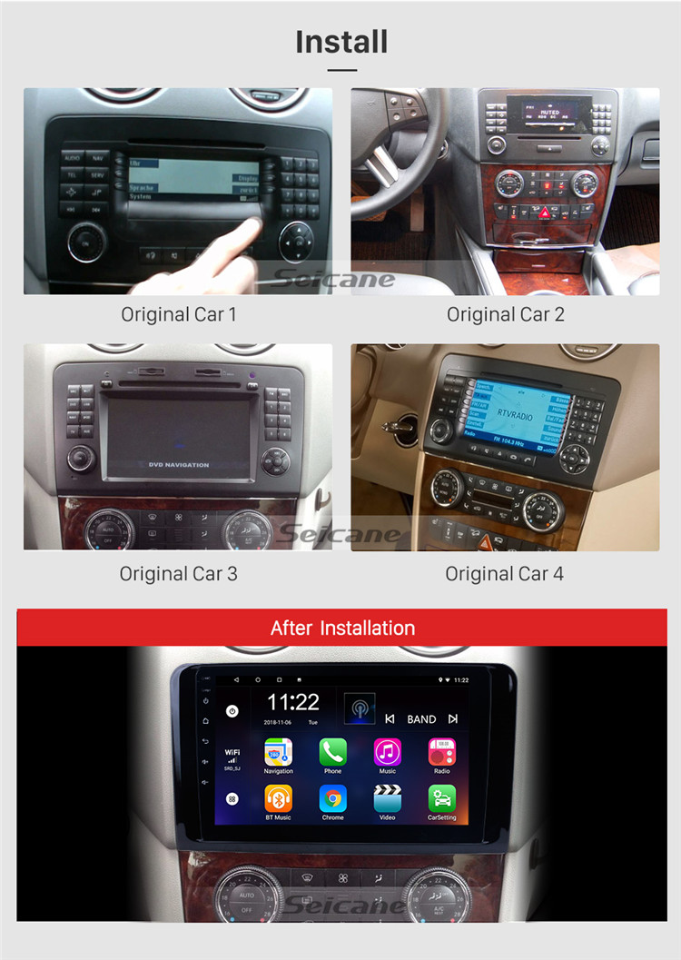 9 Inch Android 8.1 GPS Navigation system for 2005-2012 Mercedes Benz ML CLASS W164 ML350 ML430 ML450 ML500 with Bluetooth TPMS
