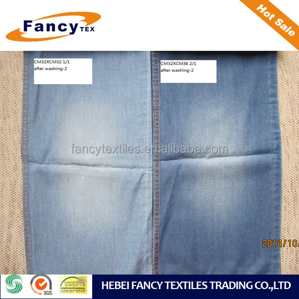 satin back brushed cotton poly span denim fabric