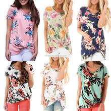 Wholesale Private label clothing Plus Size US Women Floral Print Short Sleeves Front Side Knot Tees