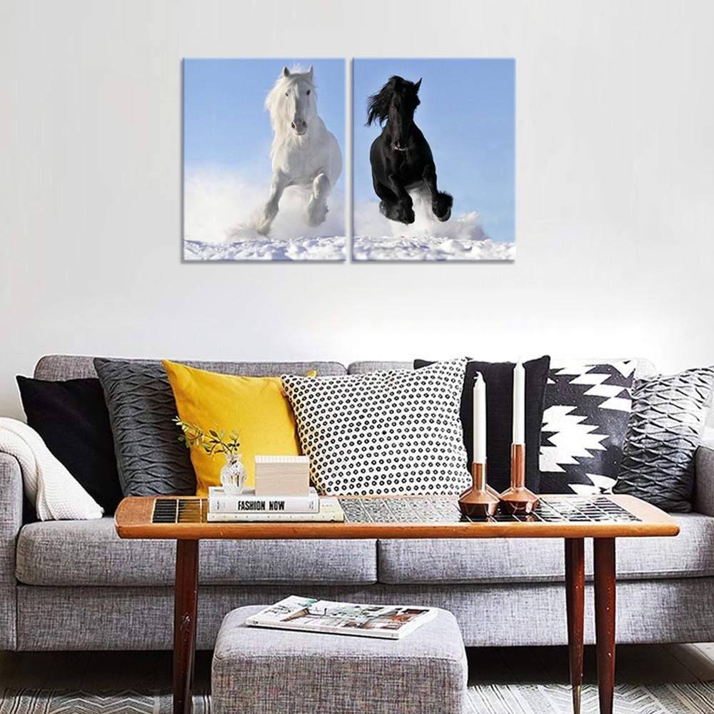 Black and White Horse Picture Giclee Print Handsome Shire Horse Canvas Printed Artwork Wholesale Framed Canvas Painting 2 Panels