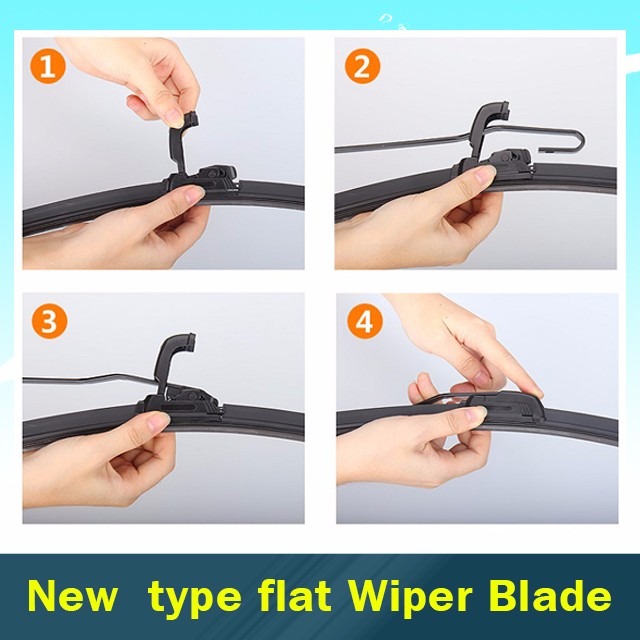 High Carbon Steel Universal Car Wiper Blades For U-hook Arm 12inch - 26inch Size