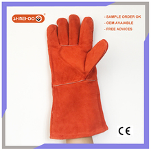 SHINEHOO Long Welding Hand Protective Split Leather Safety Gloves