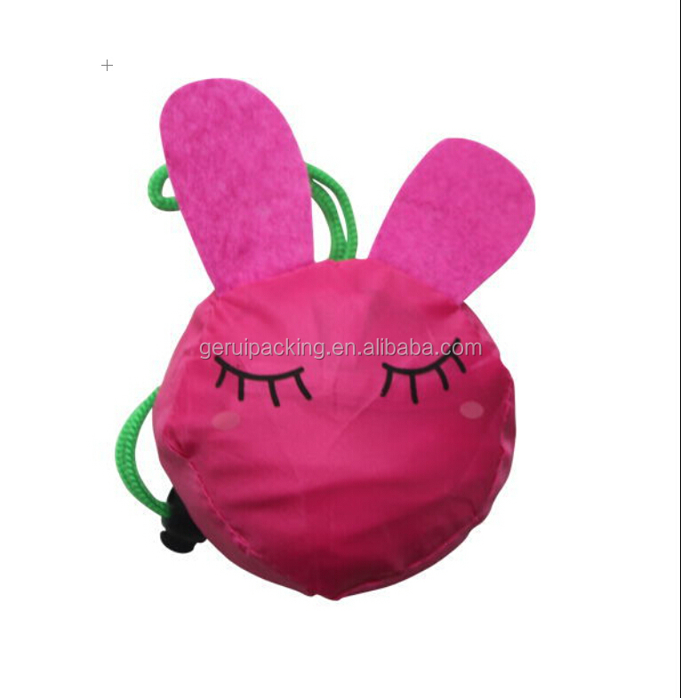 Rabbit shape foldable polyester shopping bag