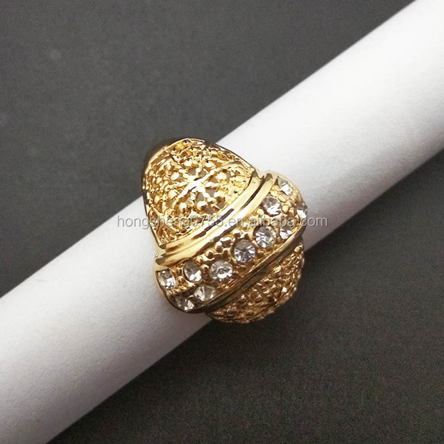 Factory Supply Vintage Diamonds Gold Rings Design Fashion Metal Rings Jewelry Women