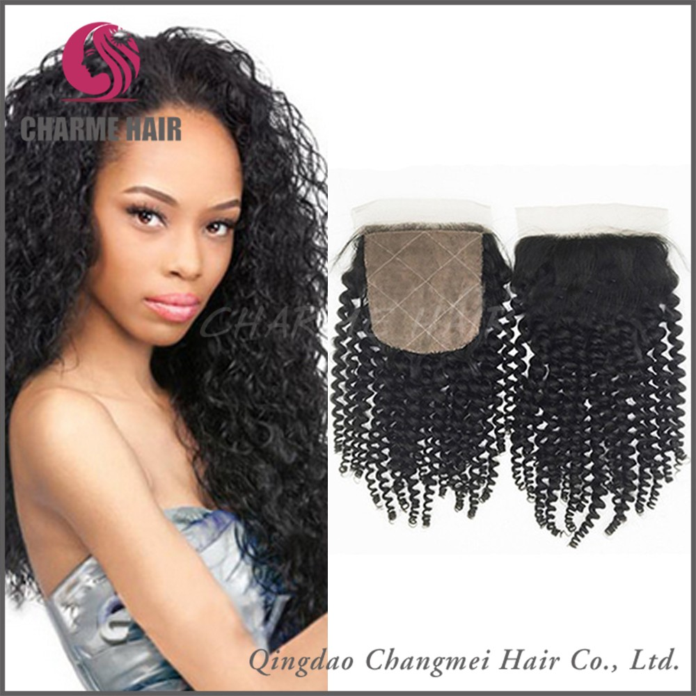 Top Quality Kingky Curly Free Parting Silk Base Virgin Brazilian Human Hair Lace Closures