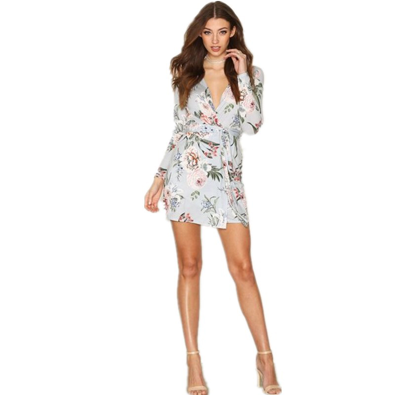 New short floral long sleeve summer cocktail wear casual chiffon dress