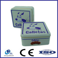 Food cookie packaging metal rectangle tin can without hinge