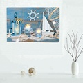 Beautiful Shore Element LED Candle Light Canvas Painting for Home Decoration