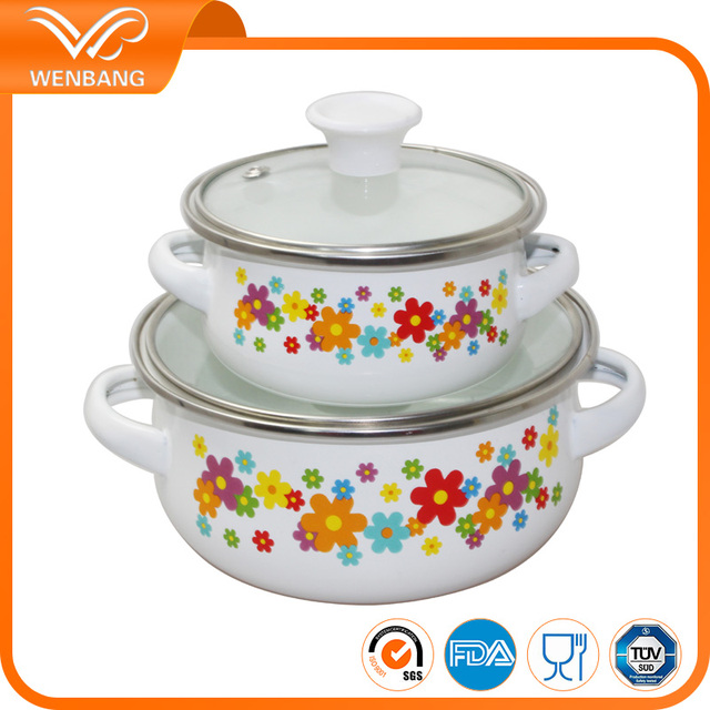 eco-friendly carbon steel customized casserole cookware enamel casserole set with glass lid