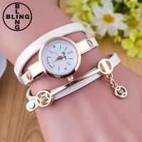>>>2017 Fashion Women Women Luxury Gift Electronic New Dress Gold Crystal Quartz Wristwatches Leather Bracelet Watch