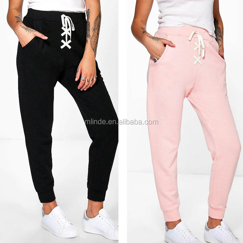 Adults Training Pants Lace Up Loopback Joggers Design Sports Trousers 2016 Plain Sweat Pants Women's,Pocket Slacks Wholesale