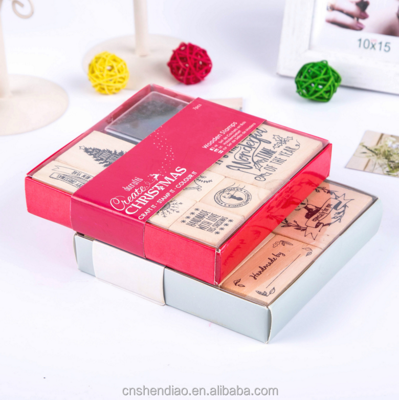 christmas kids cute toy stamp set/customized wooden stamp