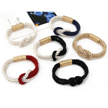 Unity band ingle knot braided colorful rope stainless steel/zinc alloy magnetic clasp bracelet