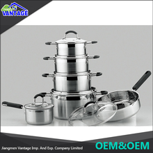 Wholesale stainless steel nonstick pot 12pcs cookware set with silicone handle