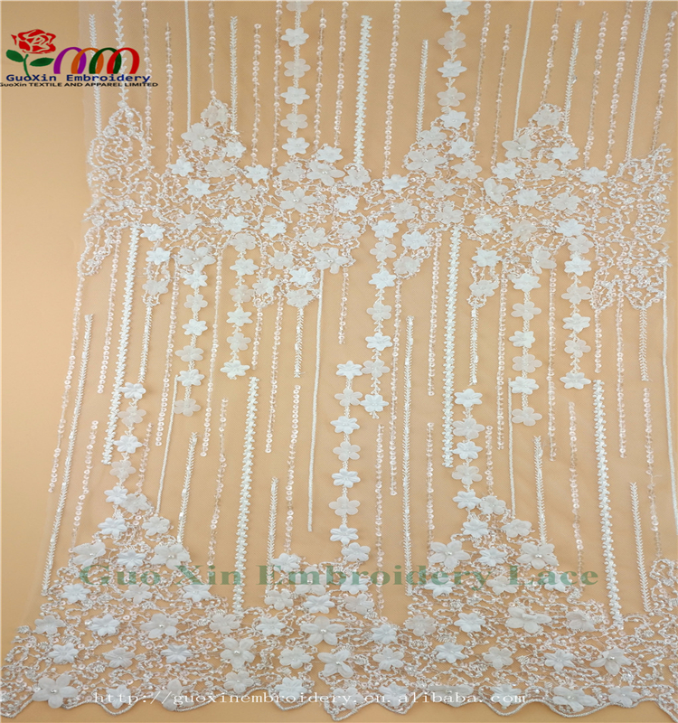 3d lace fabric embroidered lace fabric beaed lace fabric for wedding dress