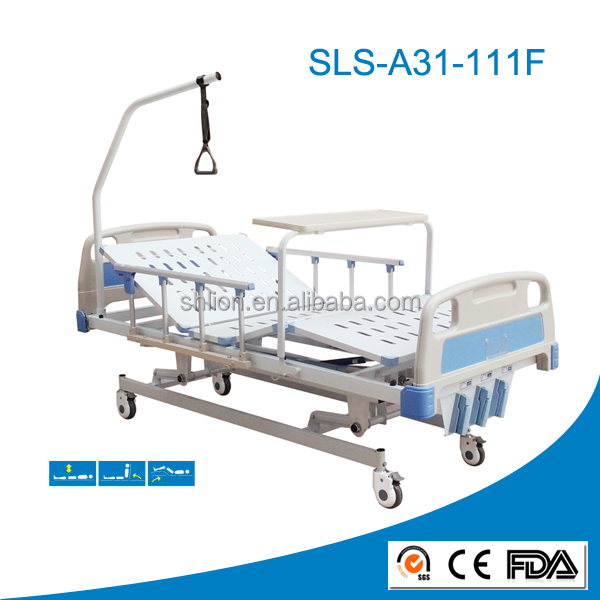 three crank manual height adjustable stainless steel hospital bed