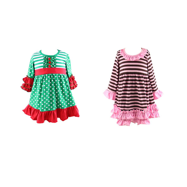 Wholesale christmas holiday lovely fashion knitting pattern dress girl baby fancy frocks long sleeved maxi dress for kids