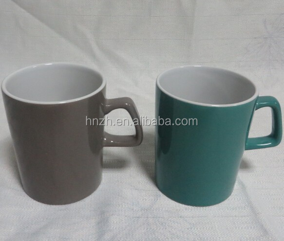 wholesale ceramic round coffee mug cup with square shaped handle