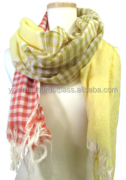 100% Cotton Check Border Solid 3 Patterns Switching Hand Loom Scarf