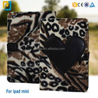 new arrival Soft tiger stripes blanket leather case for apple ipad mini 2 /3 /4 tablet flip wallet case