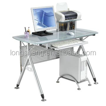 Simple design office glass desktop computer table with metal leg