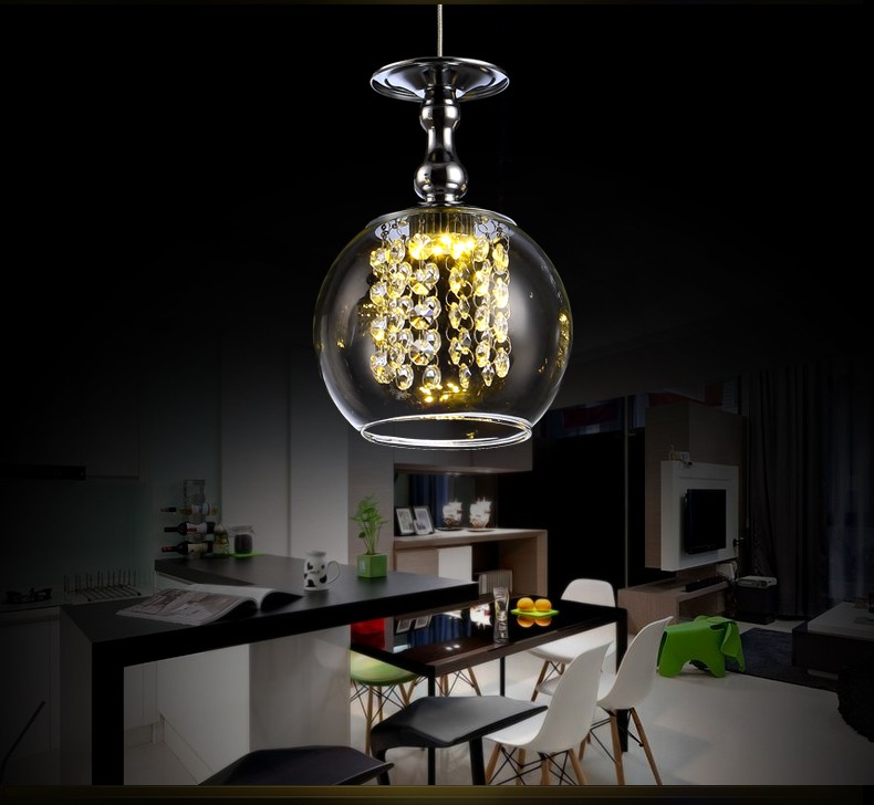 2016 New Products Mini Charming Half Round Lamp Shade Chandelier Crystal Stones Pendant Lamp