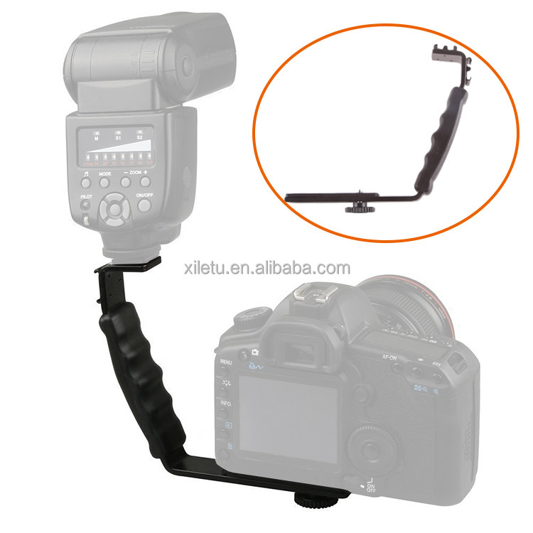 XILETU Camera Bracket Dual Hot Shoe L-shaped Flash Bracket for DSLR Camera and Camcorders