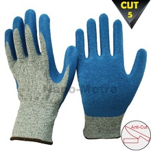 NMSAFETY blue latex coated cut resistant 5 gloves multiflex
