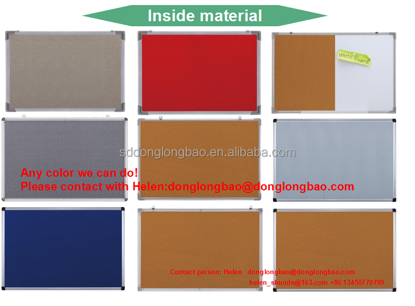 aluminium frame cork board felt board notice board with glass knock