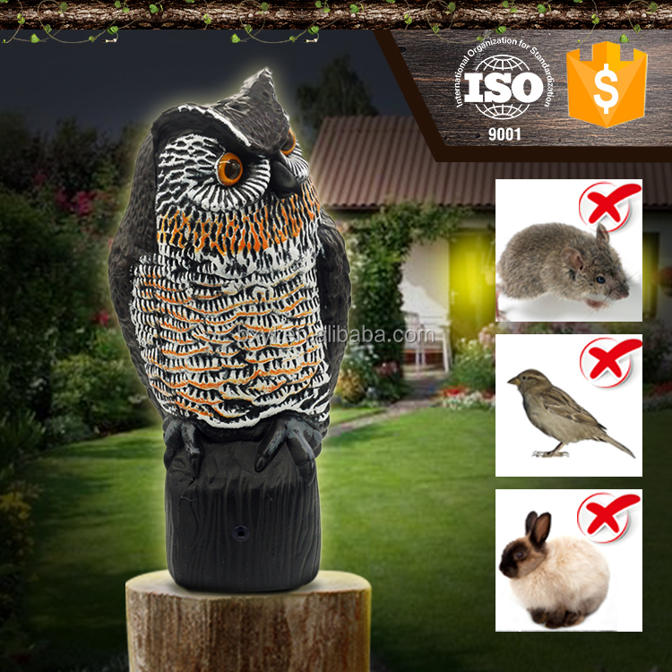Grass Hoot Solar scarecrow PE Detective water proof detterent Garden solar powered bird scare electronic plastic sonsor owl