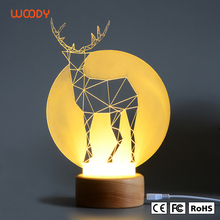 Woody New creative modern table lamp animal shaped Acrylic 3d lamp